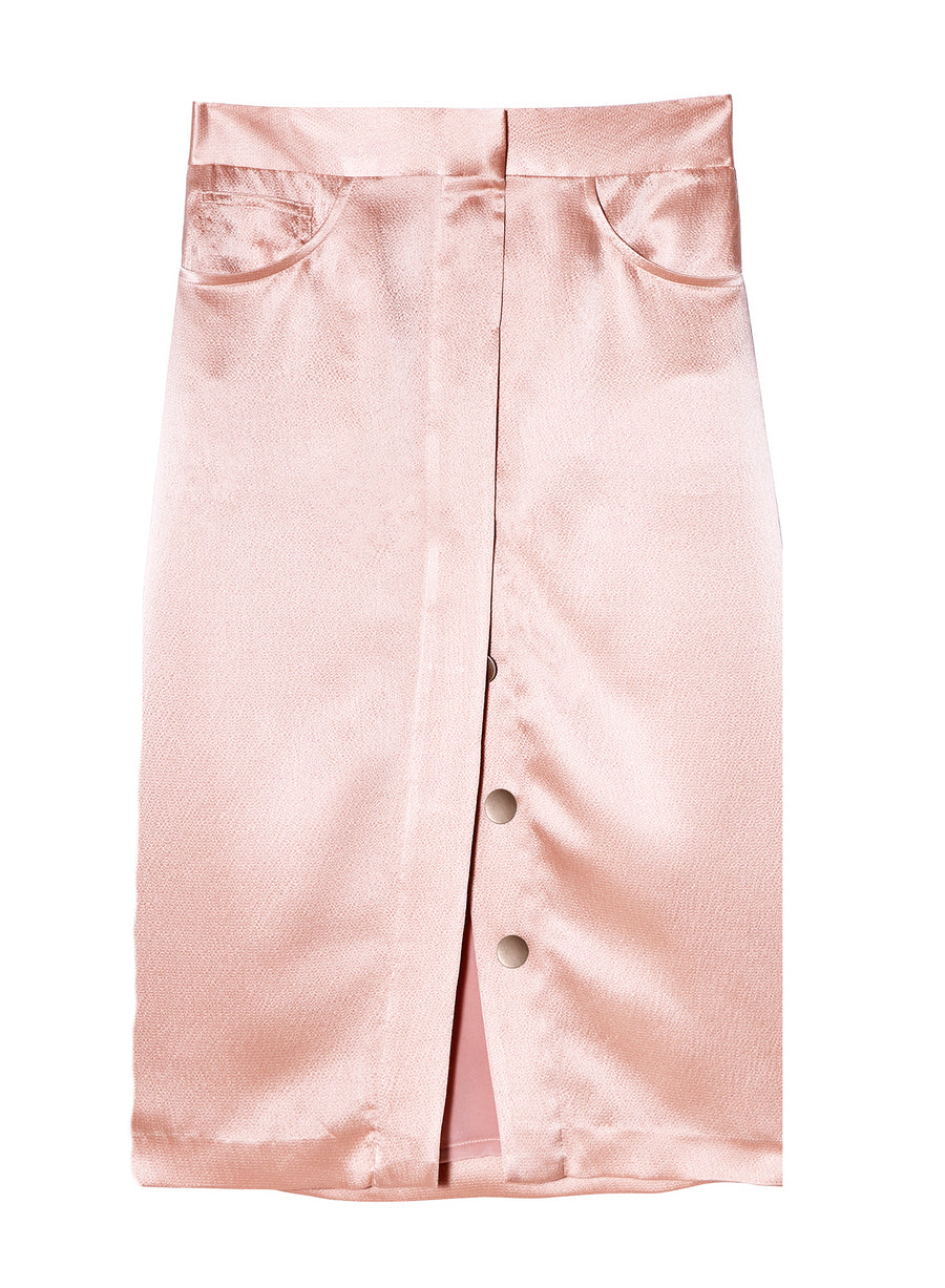 Hammered Silk Placket Front Skirt