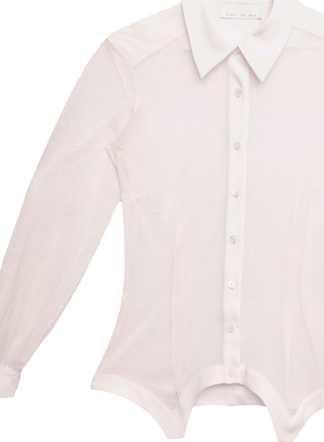 Silk & Mesh Sheer Paneled Shirt