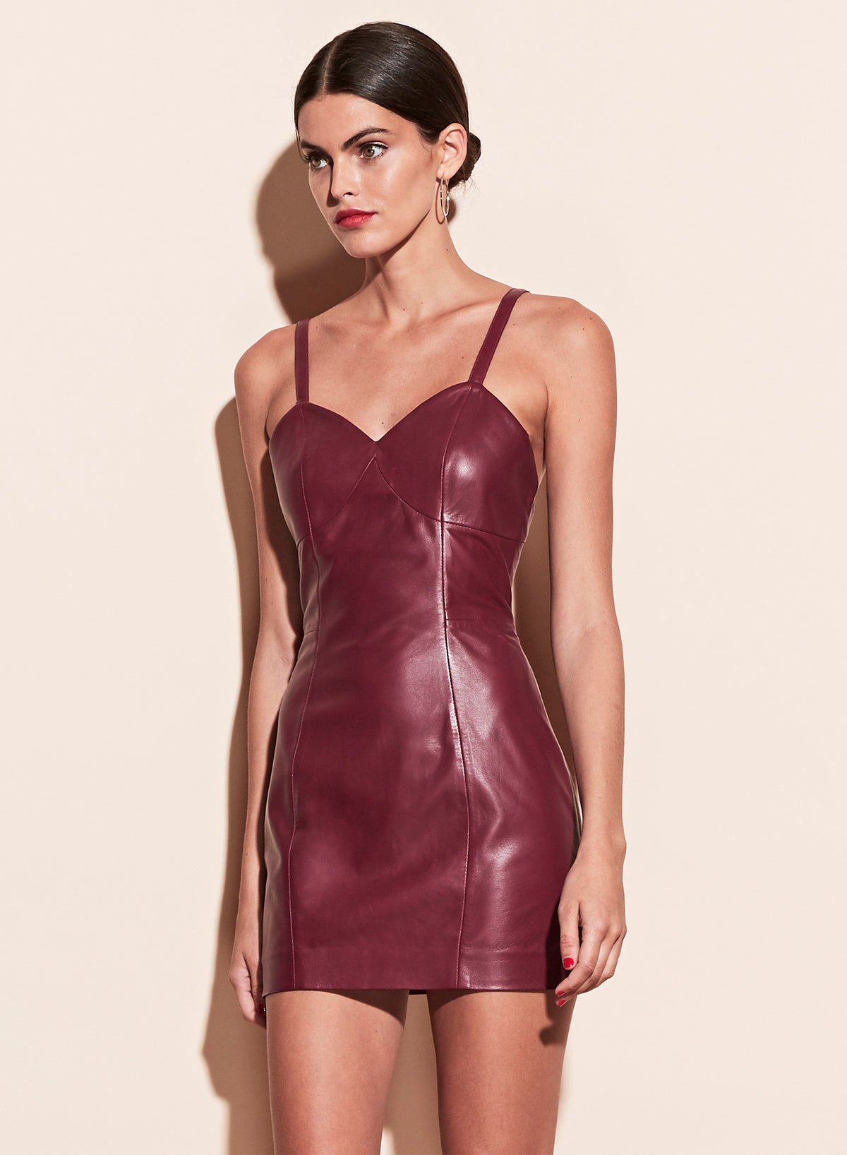 Leather Mini Slip Dress