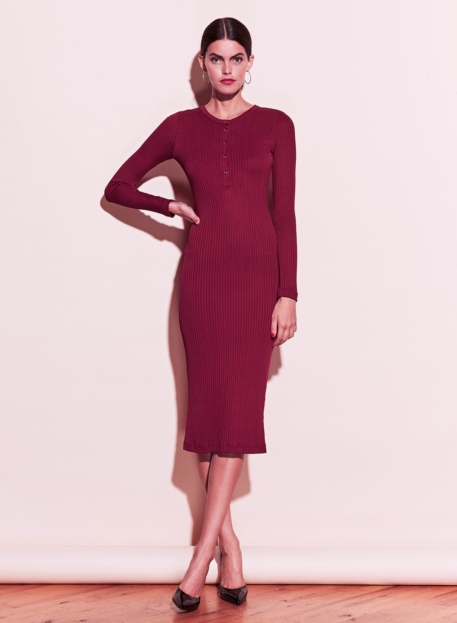 Ribbed Knit Long Sleeve Henley Dress