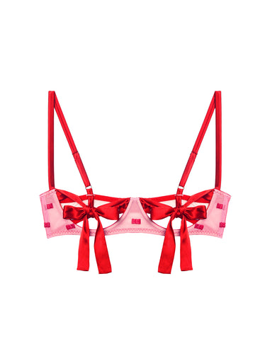 Bow Embroidery Peekaboo Bra