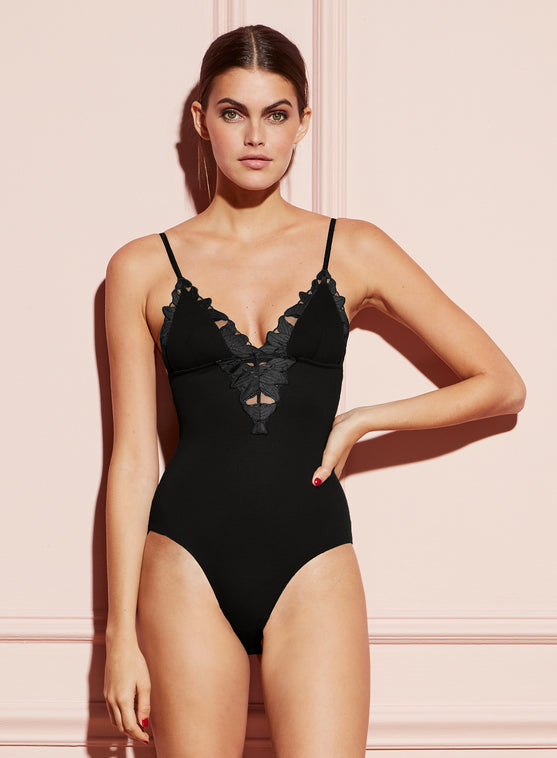 Lily Embroidery V-Neck Plunge Bodysuit