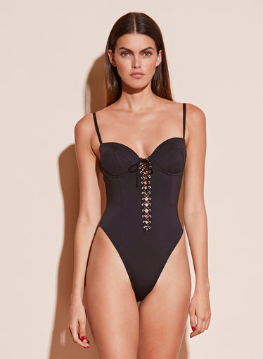 High Leg Lacing Bullet One Piece