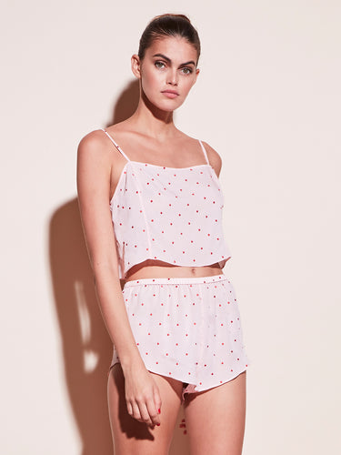 Dot Embroidered Tap Short