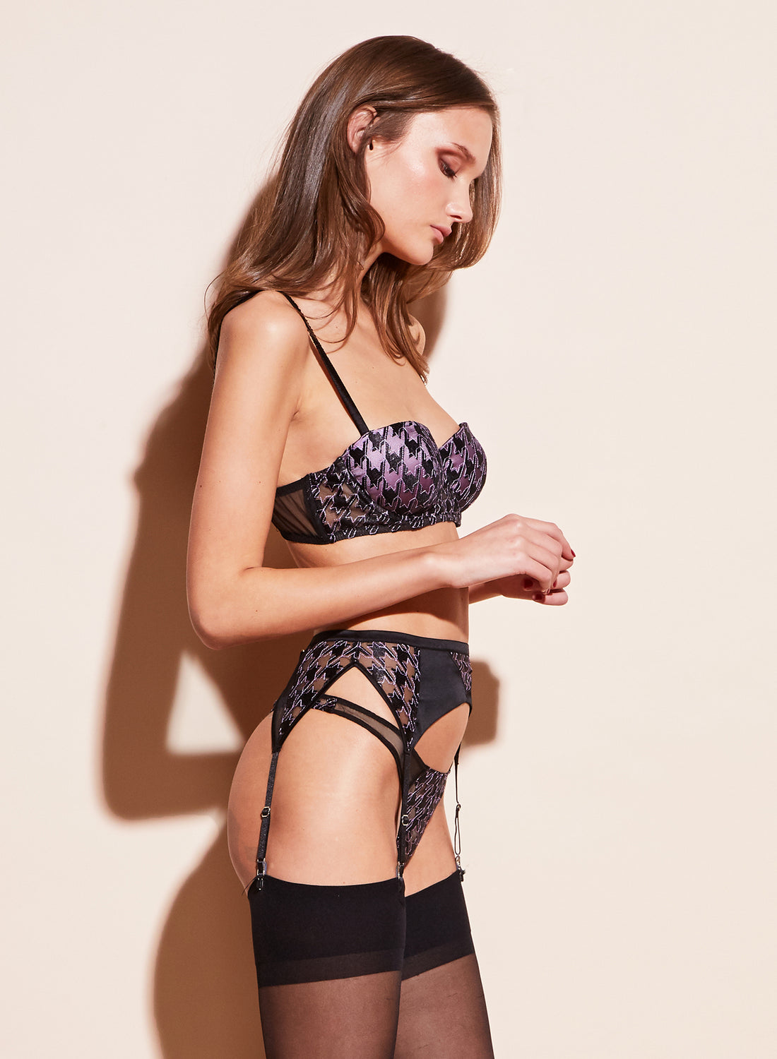 Houndstooth Embroidery Garter Belt