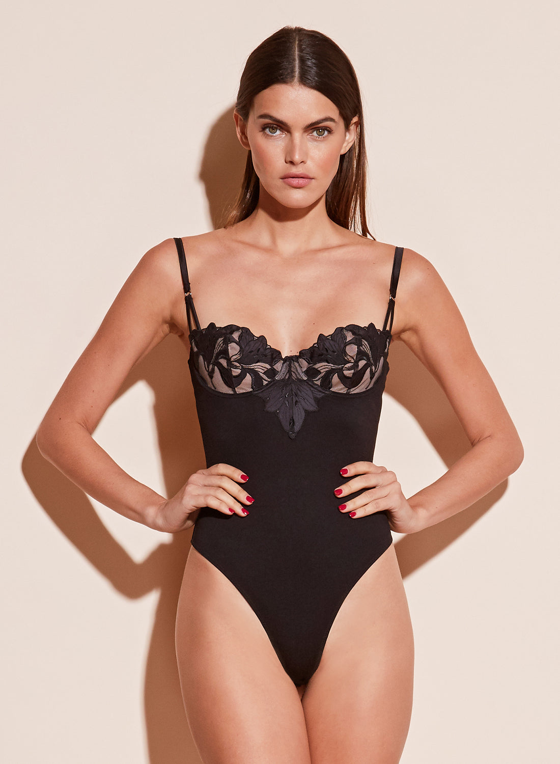 Lily Embroidery Balconette Bodysuit