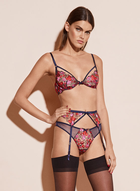 Cherry Embroidery Unlined Demi Bra