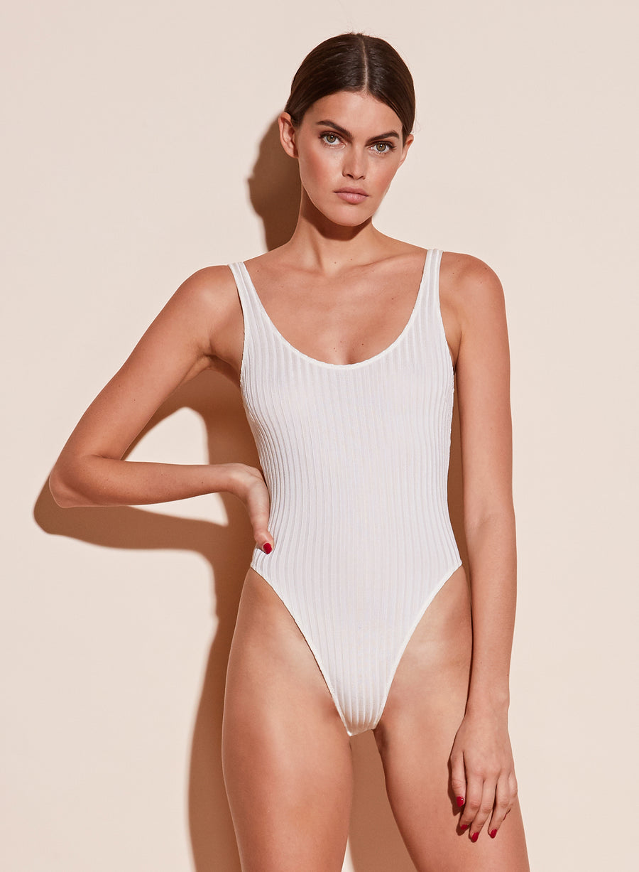 Ribbed Scoop Neck High Leg Bodysuit