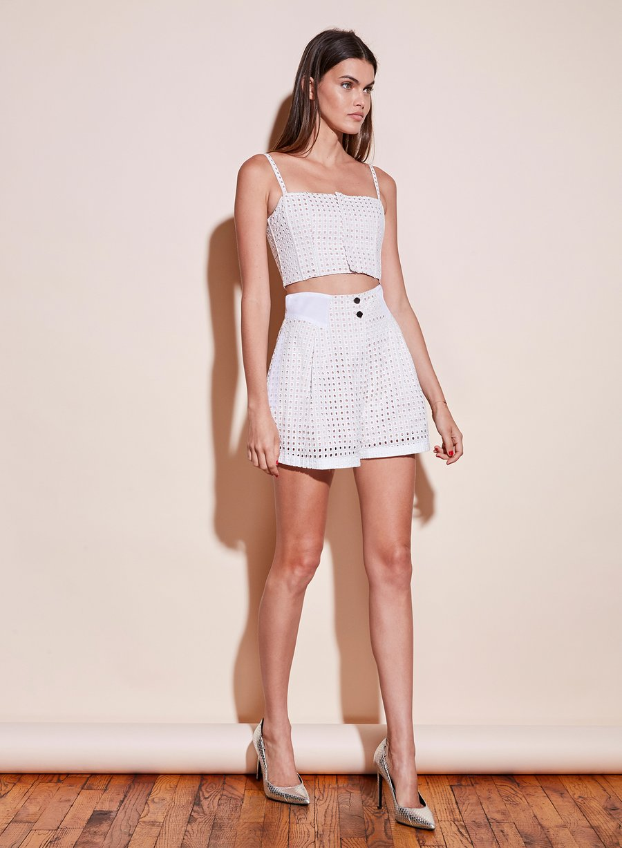 Eyelet Pleated Shorts