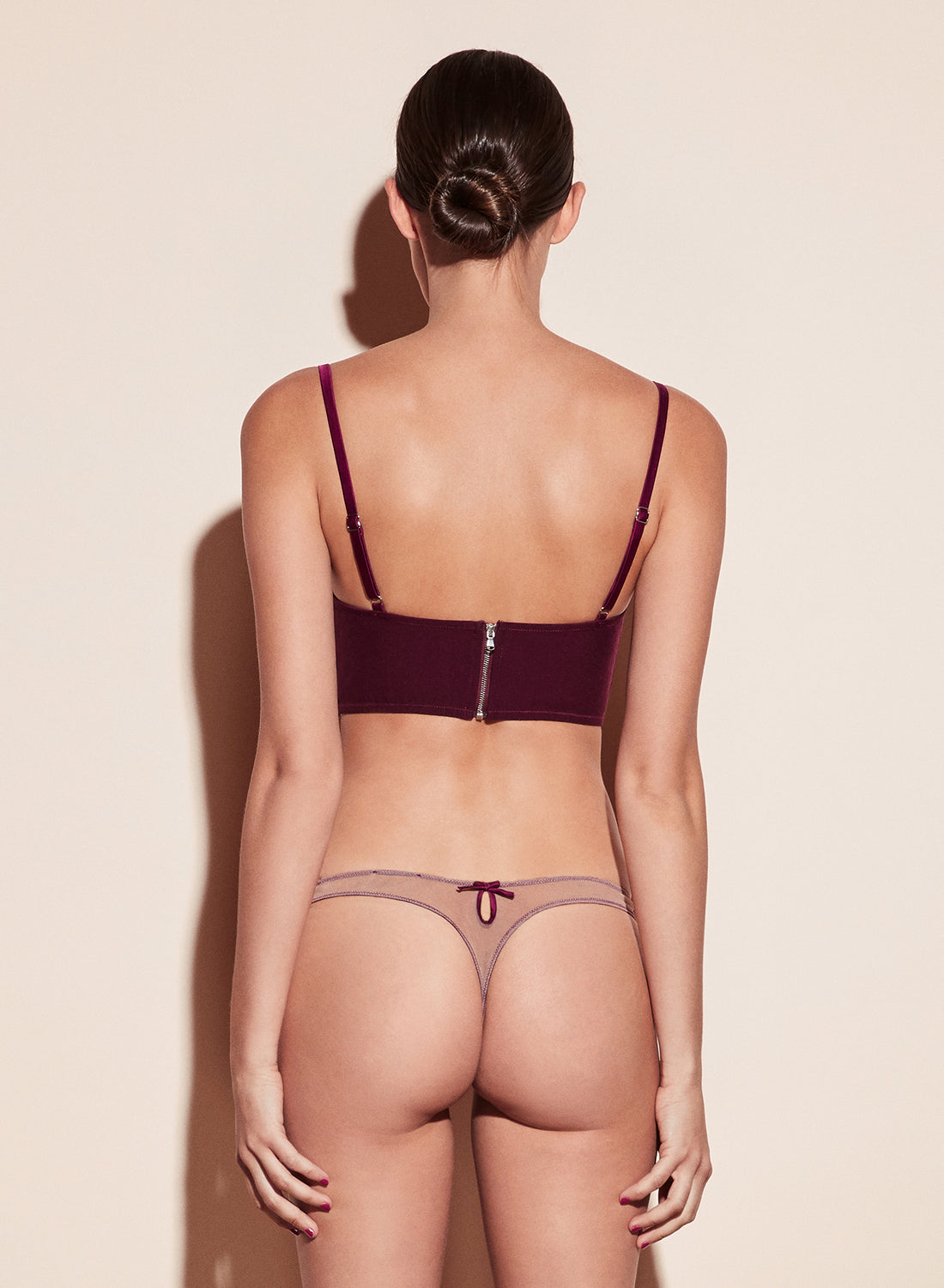 Velvet Lily Embroidery Thong