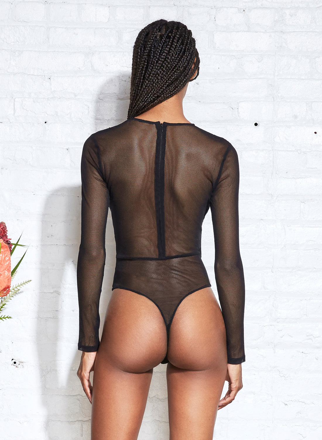 Silk & Mesh Twist Front Bodysuit
