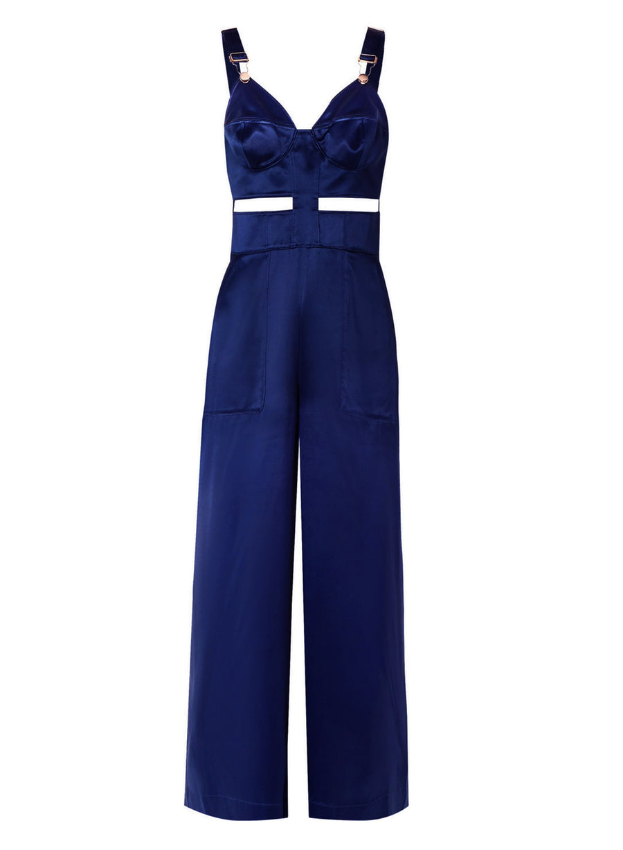 Cutout Bustier Overalls