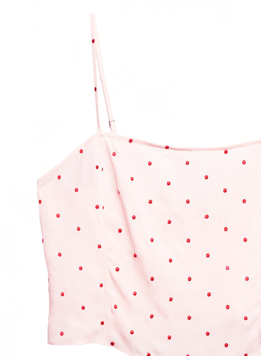 Dot Embroidered Straight Neck Cami