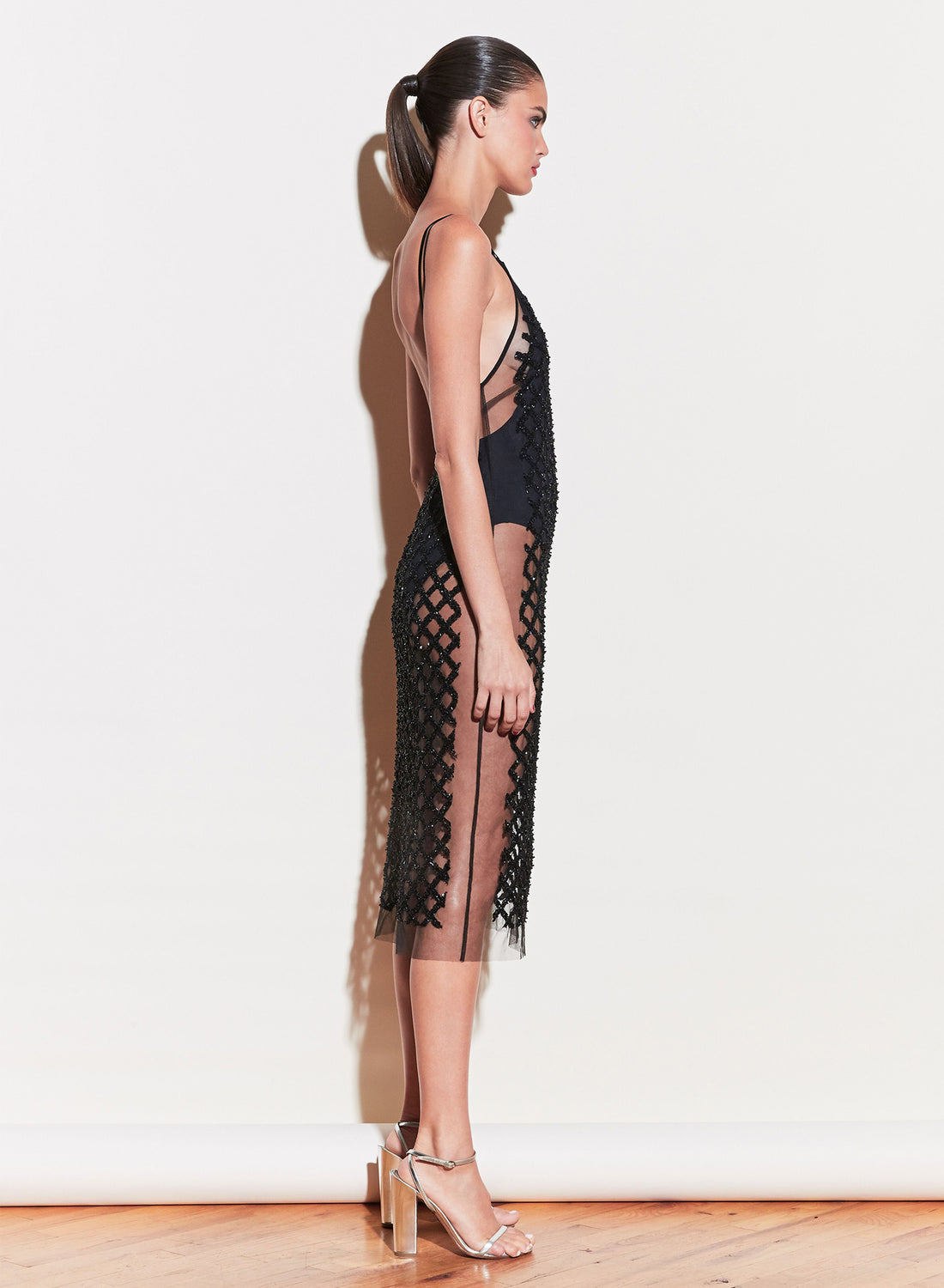 Embroidered Slip Dress with Bodysuit