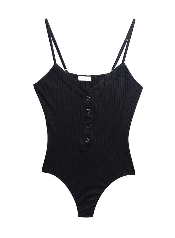 Ribbed Knit Snap Front Bodysuit