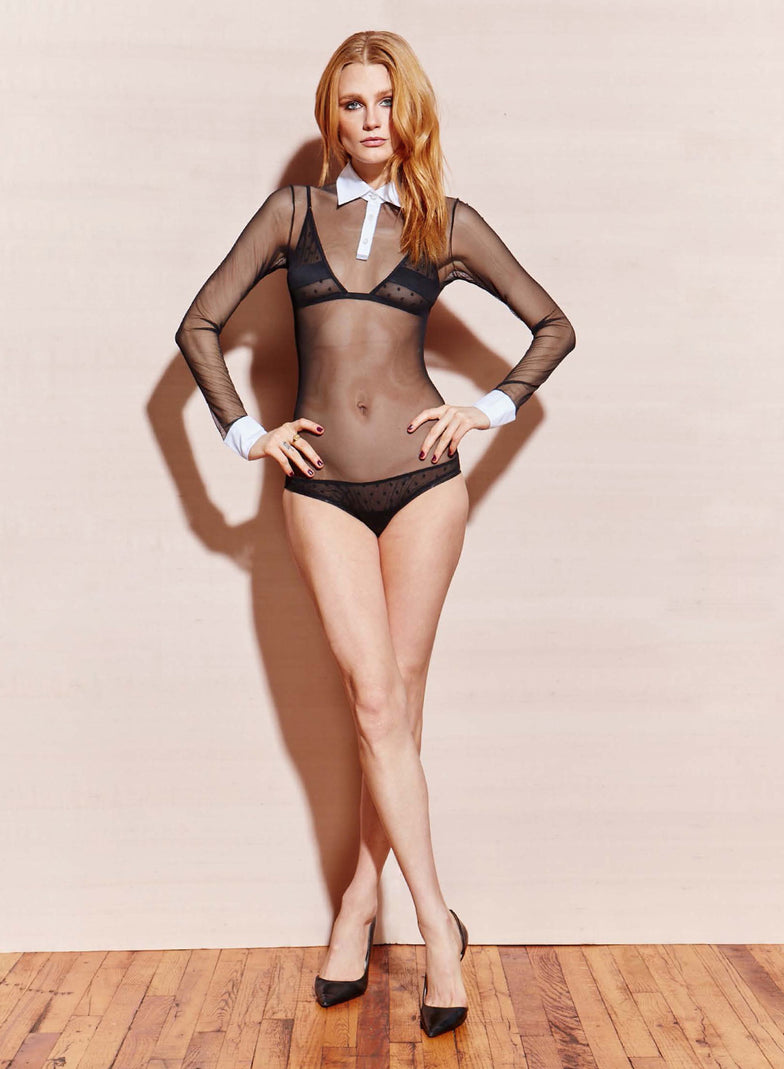 Sheer Tulle Bodysuit with White Collar