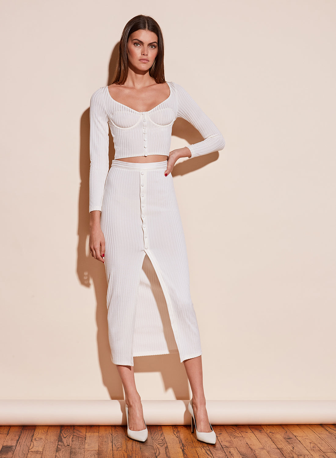 Ribbed Snap Skirt With Slit