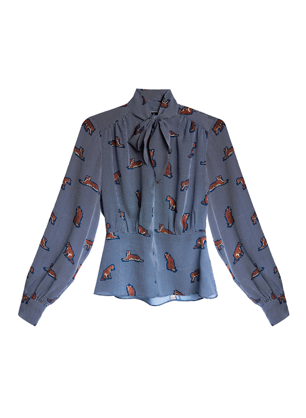 Jaguar Printed Bow Blouse