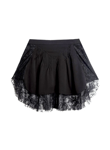 Lace Border Pintuck Skirt