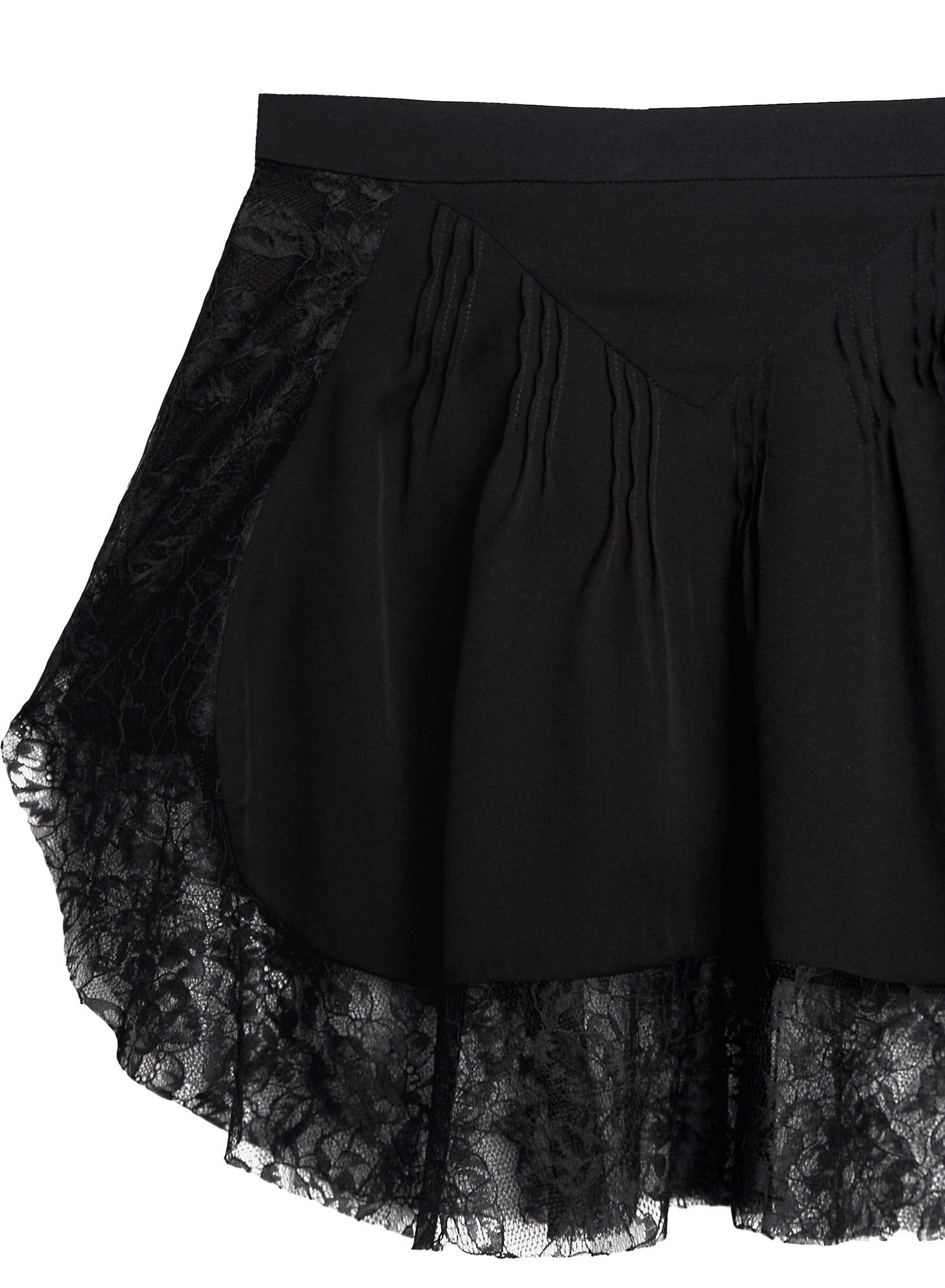 Loulou Lace Border Pintuck Skirt