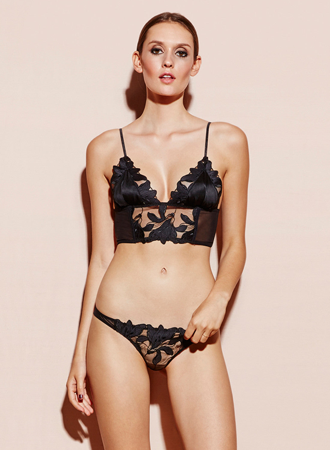 Lily Embroidery Longline Triangle Bra
