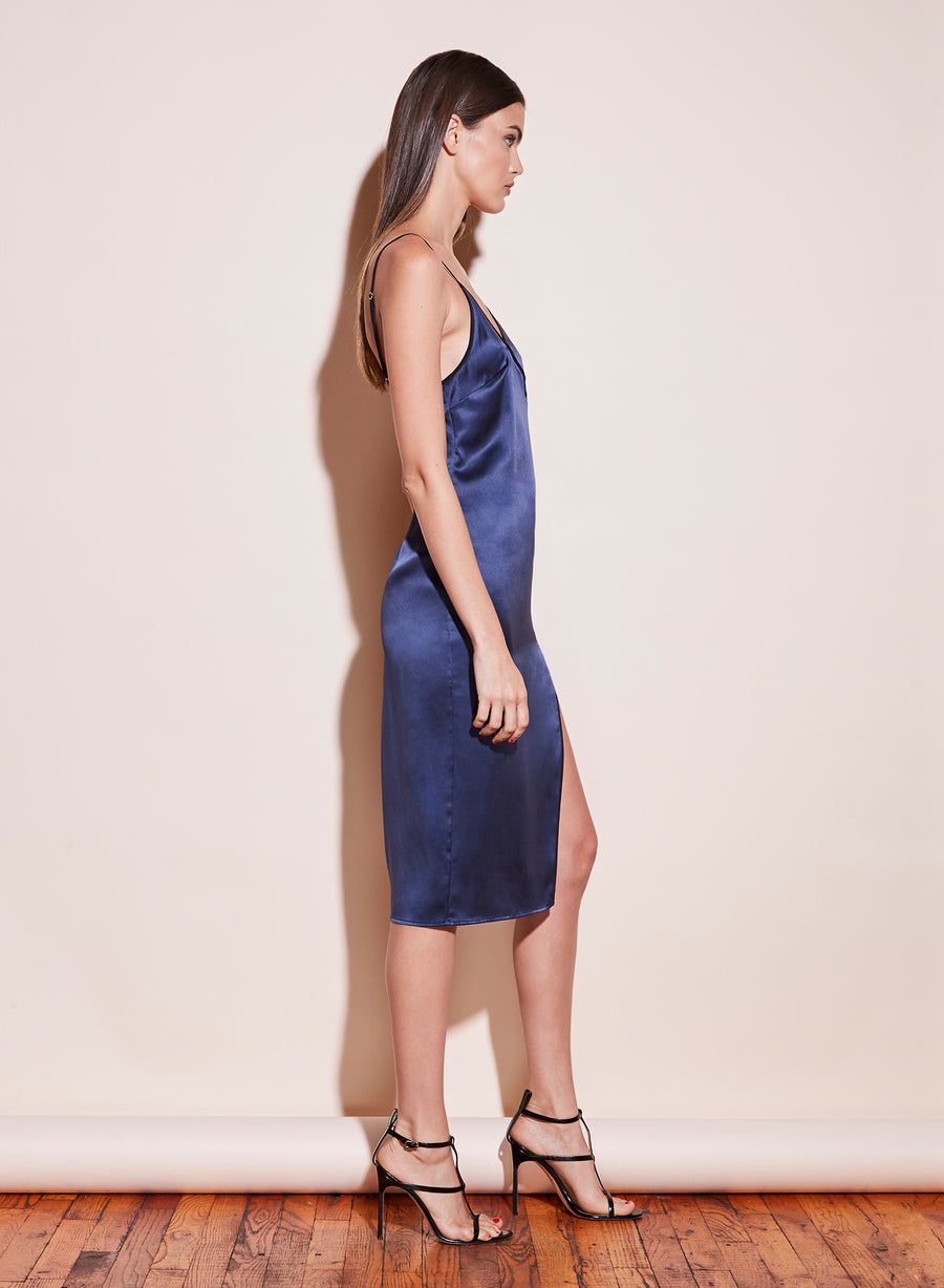 Piped V-Neck Dress