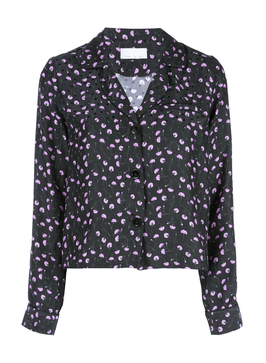 Printed Dot Jacquard PJ Top