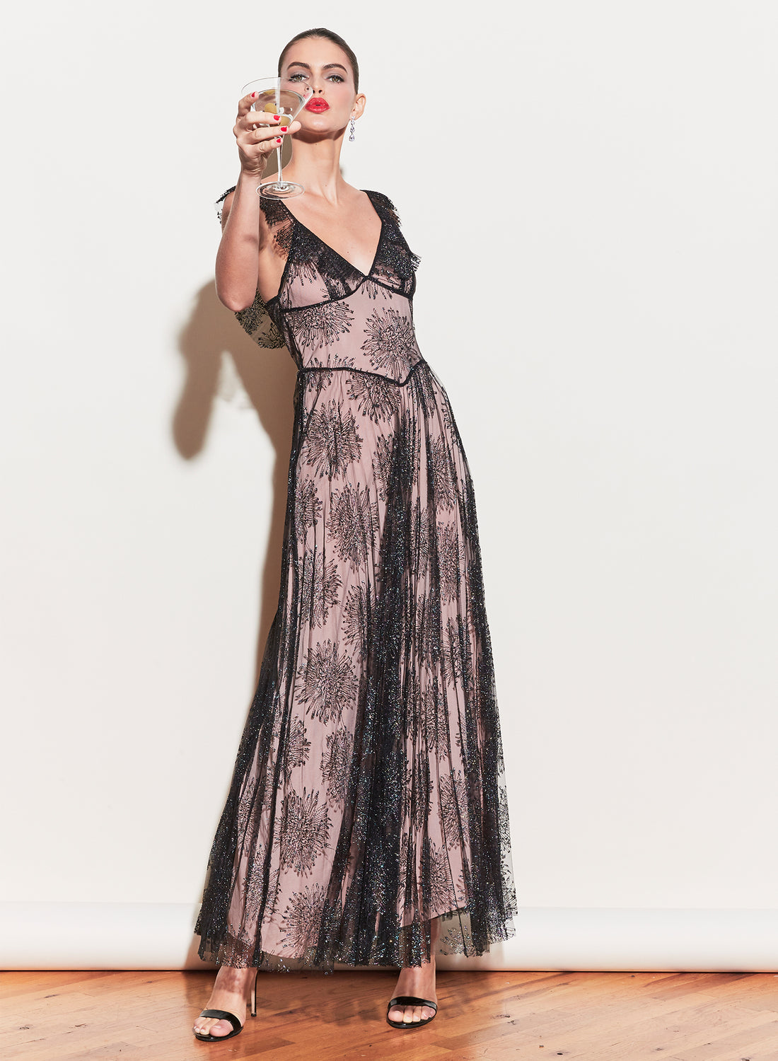 Pleated Tulle Gown With Slip