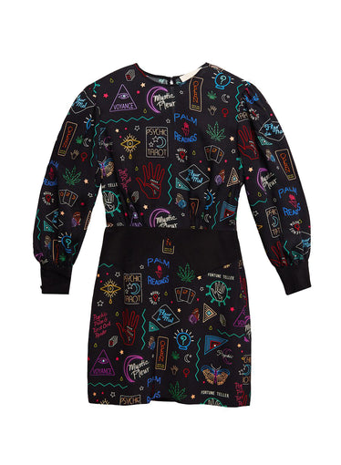 Puff Sleeve Palmistry Dress