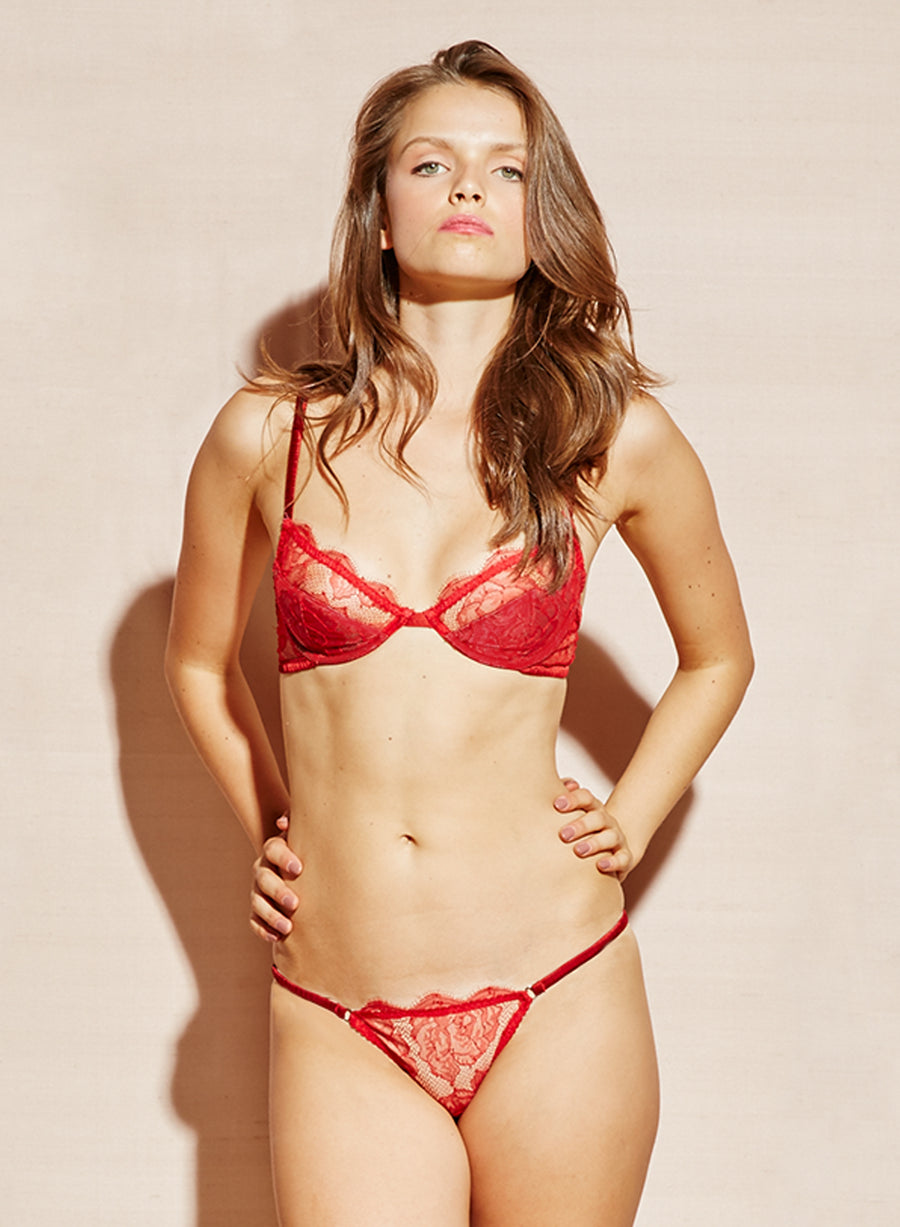 Rose Lace Padded Demi Bra