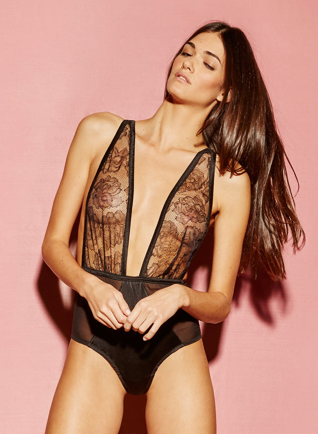 Satin & Rose Lace Bodysuit