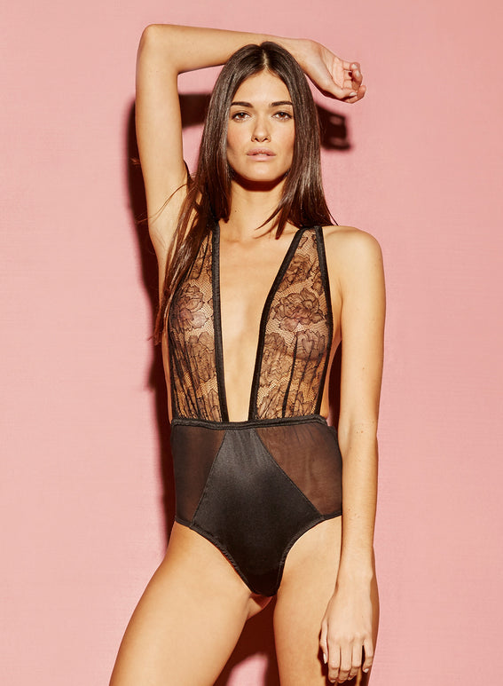 Satin and Rose Lace Bodysuit