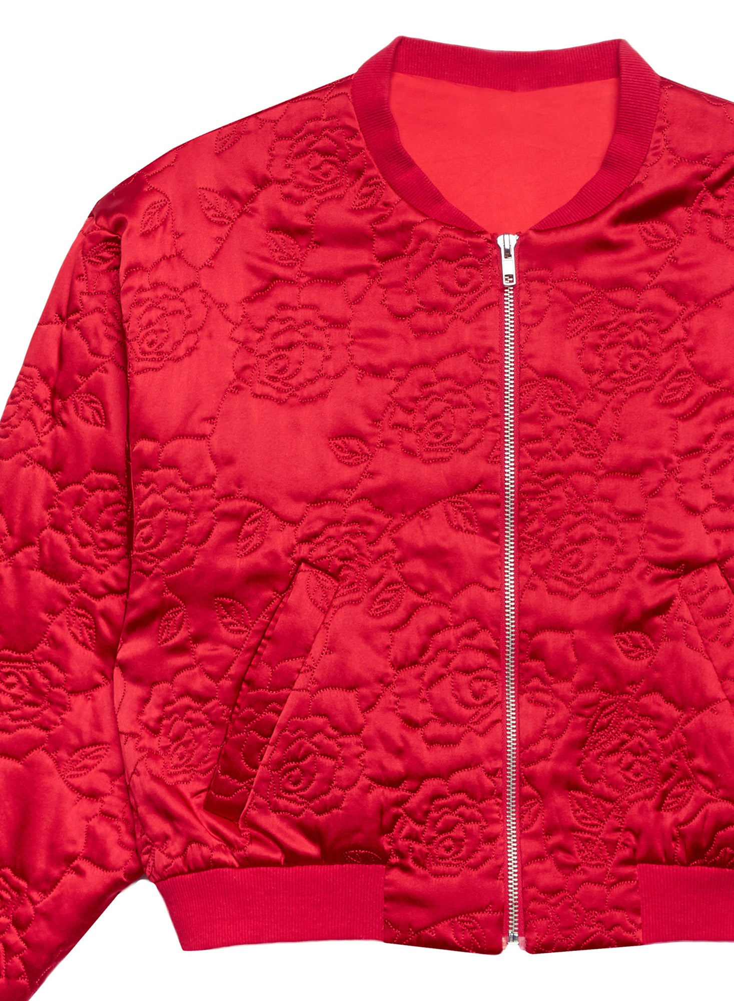 Rose Quilted Bomber Jacket
