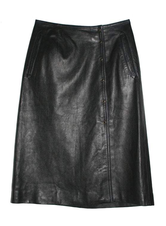 Leather A-line Skirt