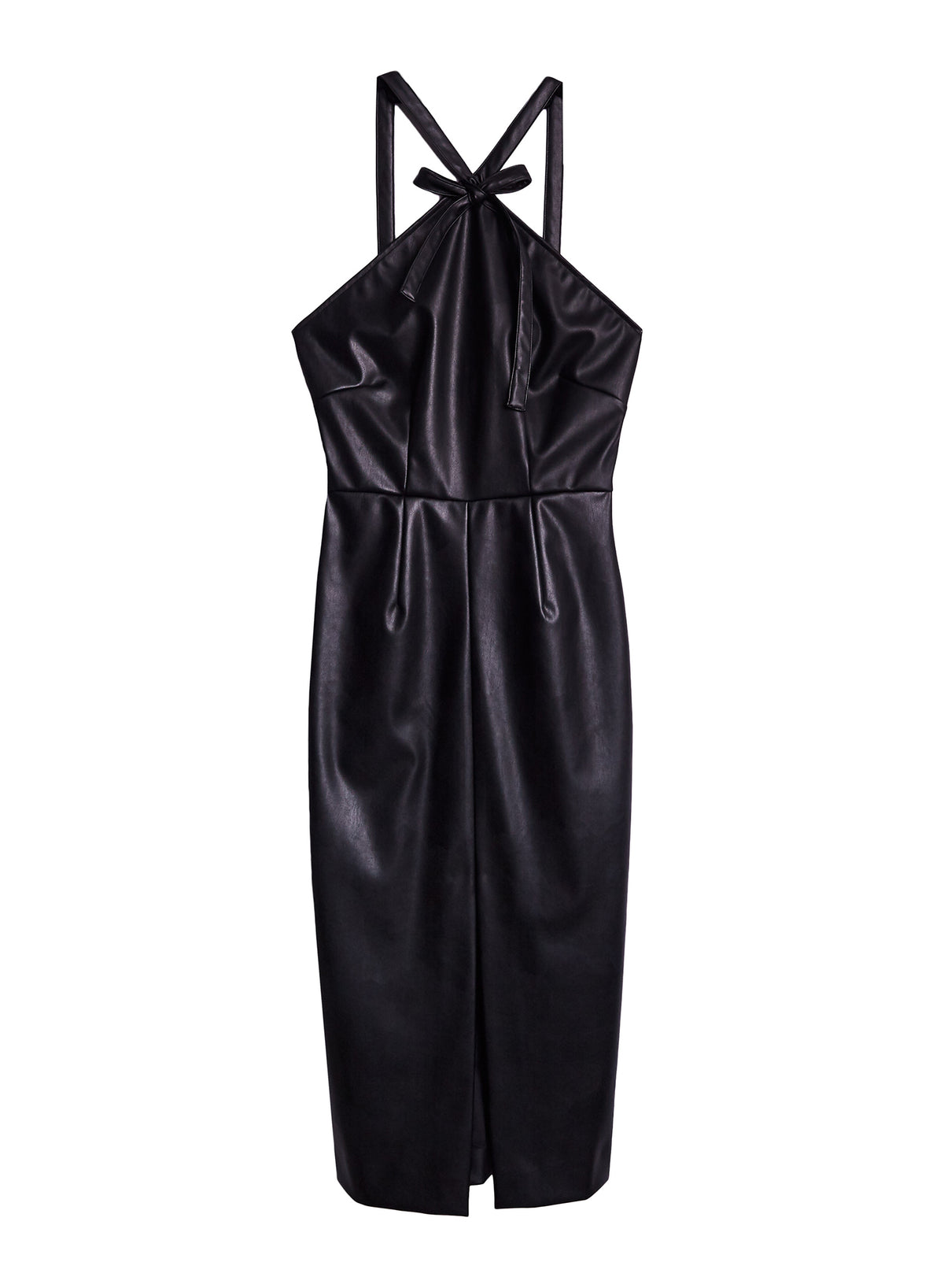 Vegan Leather Dress with Bow