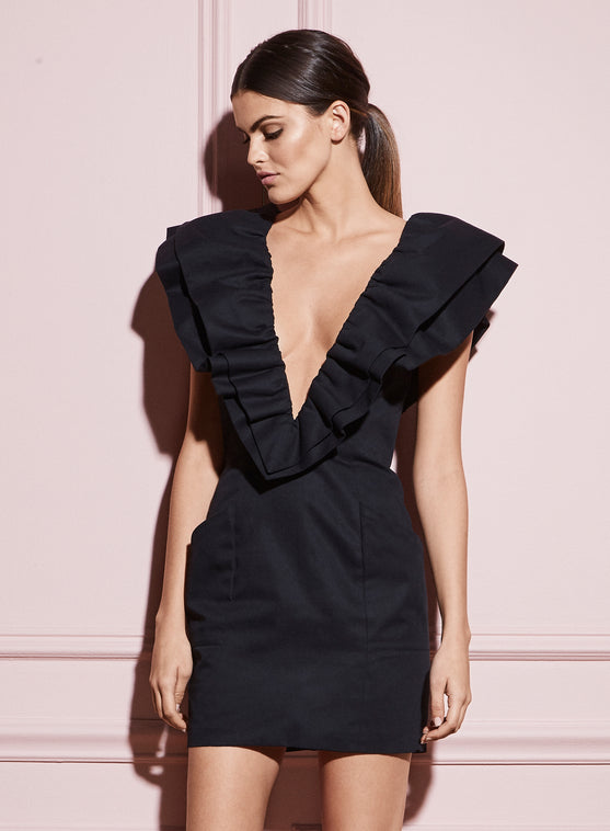 Deep V Ruffle Dress
