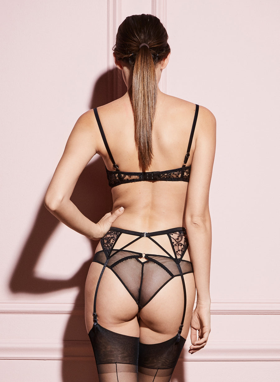 Flocked Lace Garter Belt