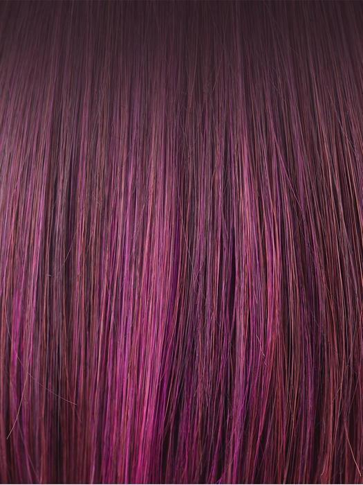 PLUMBERRY-JAM-LR | Medium plum with dark roots with mix of red/fuschia with long dark roots