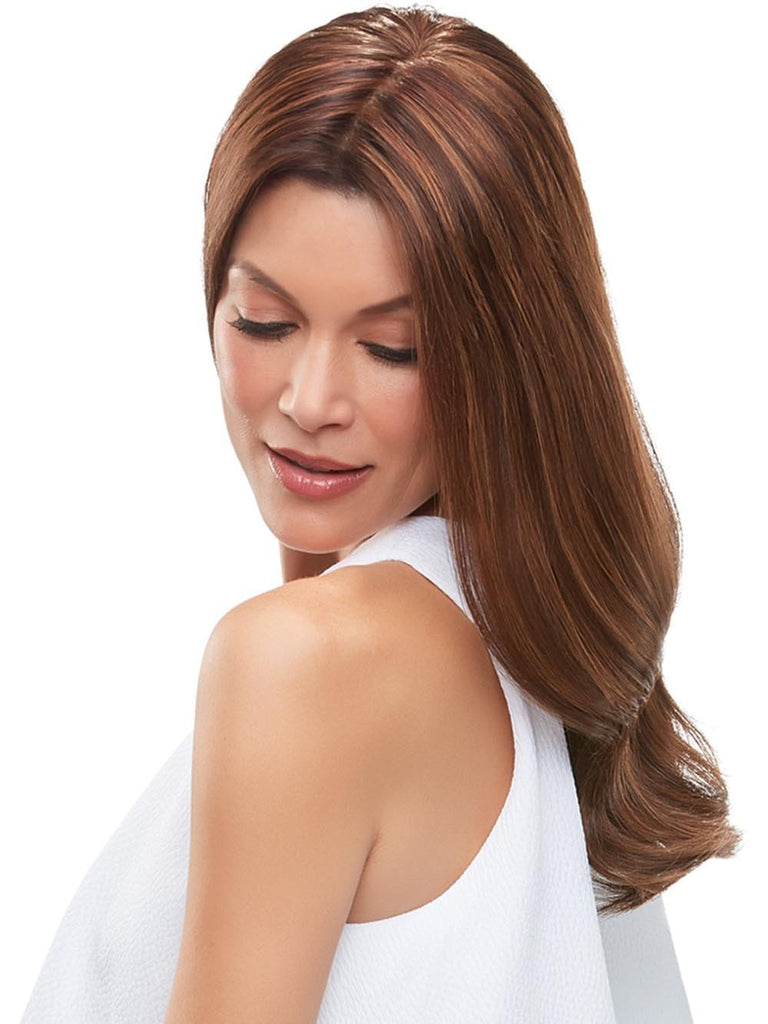 One-piece clip-in volumizer, worn over the part, adds instant thickness with a supremely natural appearance