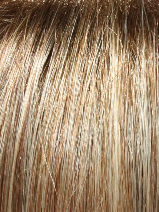 Color 14/26S10 = Light Gold Blonde & Medium Red Gold Blonde Blend, Shaded with a Light Brown Root