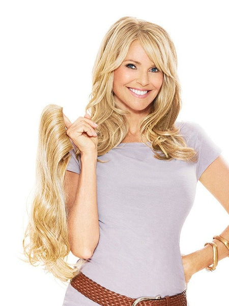 "Color HT25 = Medium Golden Blonde | 16"" Clip In Hair Extension by Christie Brinkley"