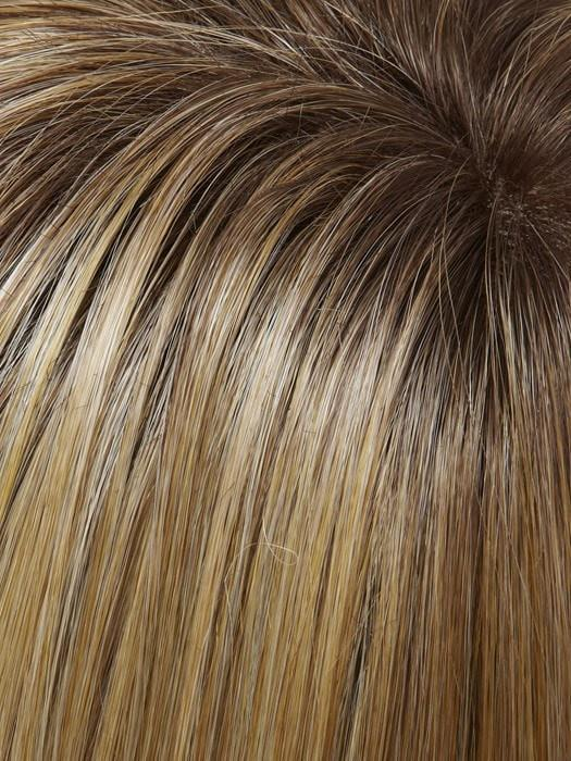 Color 24B/27CS10 = Light Golden Blonde & Medium Red Gold Blonde Blend, Shaded with a Light Brown Root