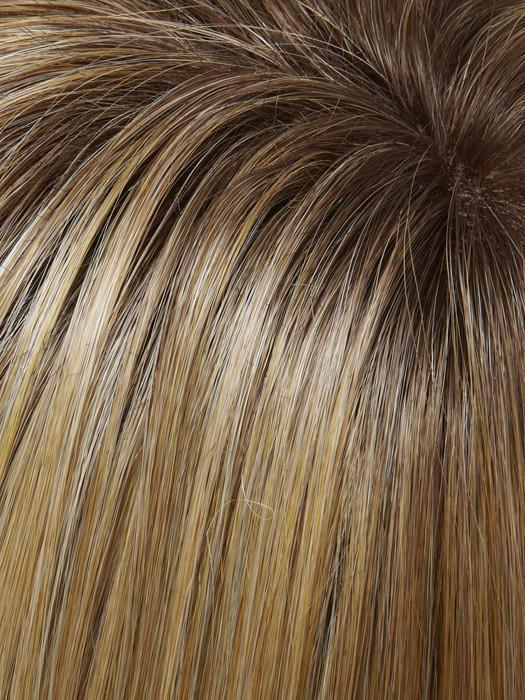 24B/27CS10 | Light Gold Blonde & Medium Red-Gold Blonde Blend, Shaded w/ Light Brown root