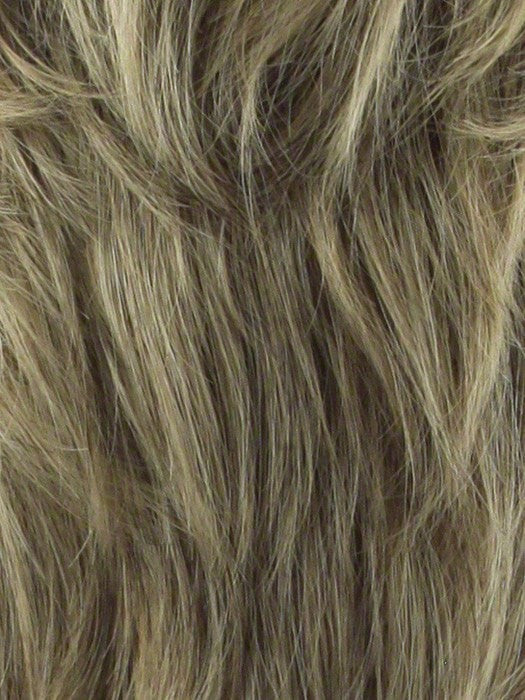 Color 24B18S8 = Medium Gold Brown & Light Golden Blonde Blend, Shaded with a Dark Gold Brown Root