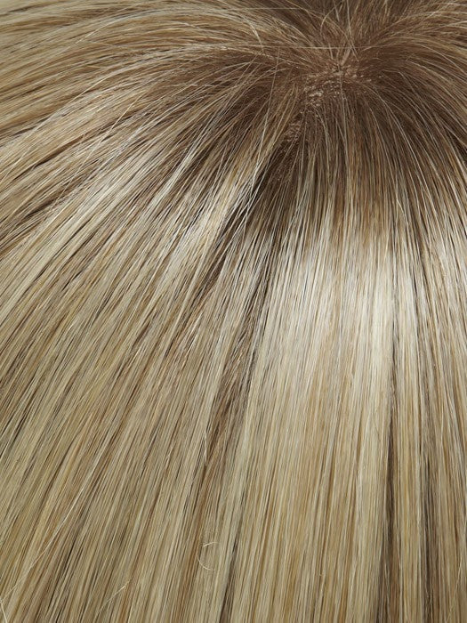 Color 24B613S12 = Medium Natural Ash Blonde & Pale Natural Gold Blonde Blend tipped, Shaded with a Light Brown Root