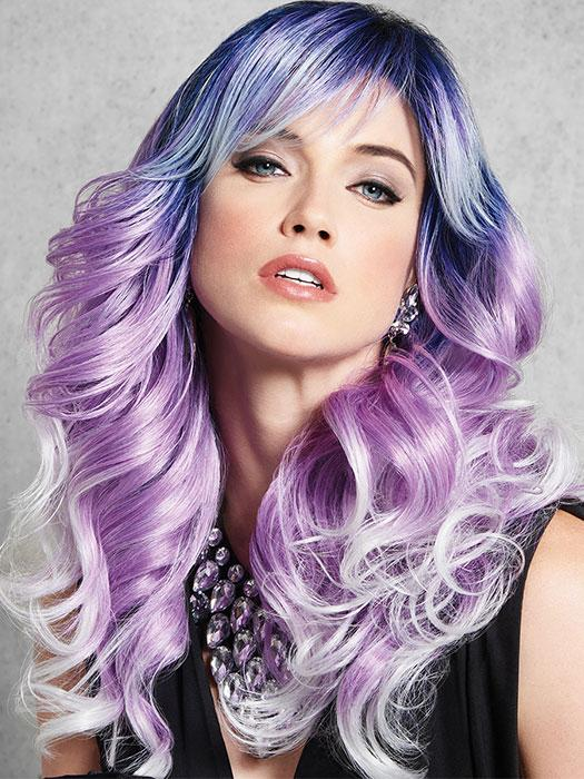 Melt hearts in this cool toned color combo. Long-rooted waves boldly go from midnight blue to purple that fades into white lilac.