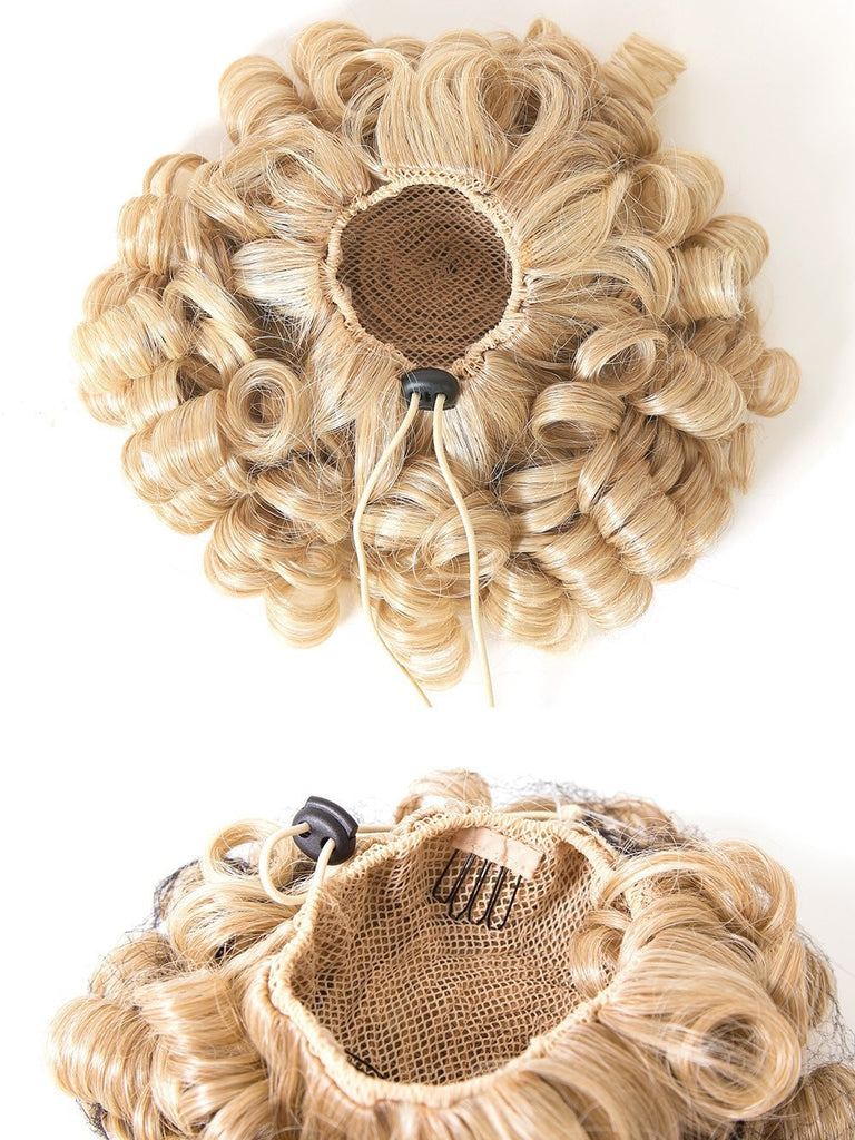 "15"" long, spiral curl, drawstring pocket 'pony' with three 4-prong combs for secure attachment."