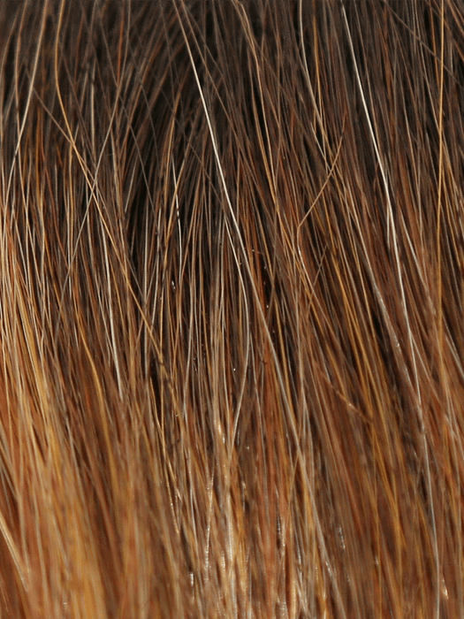 HONEY-BROWN-R | Warm Medium Brown base with auburn and honey highlights with Dark Roots