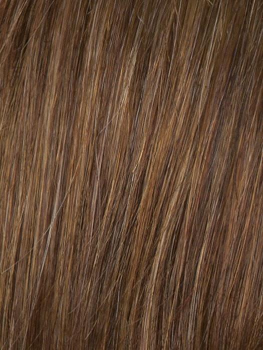 Color R3025S = Glazed Cinnamon: Medium Reddish Brown With Ginger Blonde Hightlights