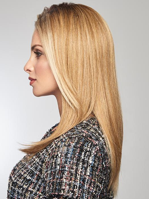 The Tru2life heat-friendly synthetic fiber can be flat ironed super straight or curled with a curling iron